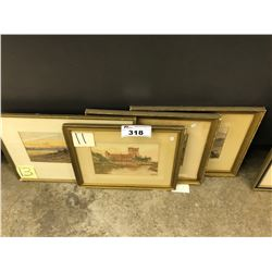 LOT OF 5 SMALL FRAMED ORIGINAL WATERCOLOUR PAINTINGS, SIGNED