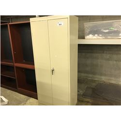 BEIGE 2 DOOR METAL STORAGE CABINET