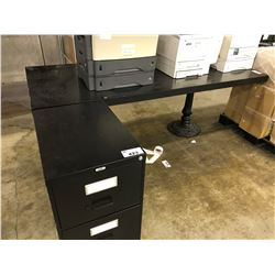8' EBONY TABLE AND 2 DRAWER FILE CABINET