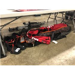 ASSORTED SNOWBOARD BAGS AND DC MENS SIZE US 11 SNOWBOARD BOOTS