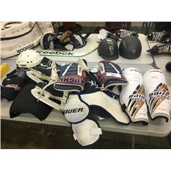 LOT OF ASSORTED HOCKEY GEAR