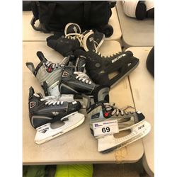 3 PAIRS OF HOCKEY SKATES