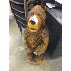 SOLID WOOD CARVED GRIZZLY BEAR - APPROX. 40 INCHES TALL