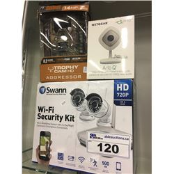 LOT OF ASSORTED SECURITY APPLIANCES INC. SWANN WI-FI SECURITY KIT, NETGEAR ARLO Q CAMERA, AND