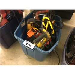 BOX OF ASSORTED CORDED AND CORDLESS POWER TOOLS
