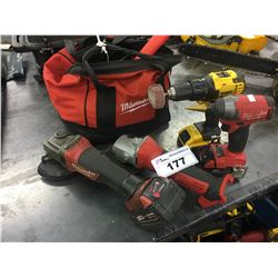 LOT OF ASSORTED POWER TOOLS AND MILWAUKEE TOOL BAG WITH CONTENTS