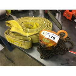 1 TON CHAIN HOIST AND PROCRAFT 22000 LB NYLON SLING