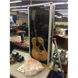 AUTOGRAPHED SAMICK MODEL SW 295 N ACOUSTIC GUITAR IN HARD SHELL DISPLAY CASE, SIGNATURES POSSIBLY