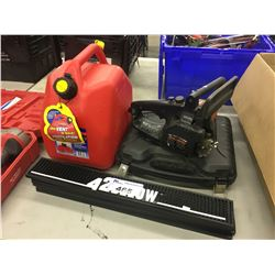 LOT OF BAR MATS, CHAIN SAW POWER UNIT, DRILL AND MORE