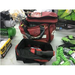 LOT OF ASSORTED POWER TOOLS AND BAGS