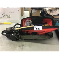 GAS CHAIN SAW AND BAG OF ASSORTED TOOLS AND MORE