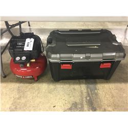 PORTER CABLE 150 PSI 6 GALLON COMPRESSOR, AND LARGE HUSKY TOOL CHEST