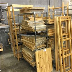 LARGE QUANTITY OF 6.5' ADJUSTABLE HEIGHT WOODEN SHELVING, METAL RACKING NOT INCLUDED