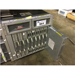 SUN MICROSYSTEMS BLADE SERVER UNIT WITH 9 SERVER BLADES, EACH LOADED WITH 4X 10,000 RPM HDDS,