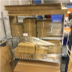 ASSORTMENT OF NEW CARDBOARD BOXES, RACK NOT INCLUDED