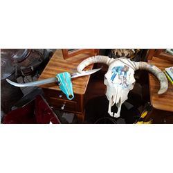 SIGNED, HAND PAINTED BULL SKULL & METAL BULL SKULL WALL ART SIGNED