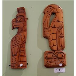 TWO CARVED NATIVE WALL PLAQUES