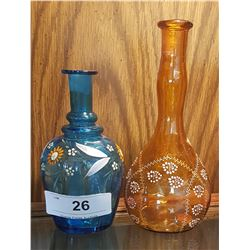 TWO VICTORIAN HAND PAINTED BOTTLES