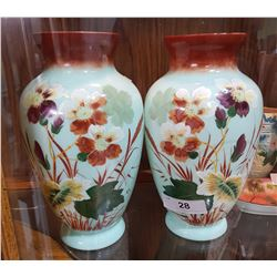 PAIR LARGE BRISTOL GLASS VASES