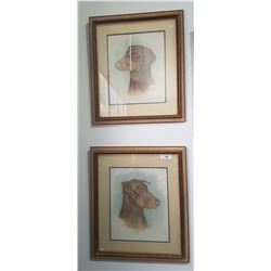 PAIR FRAMED, SIGNED DOG PRINTS