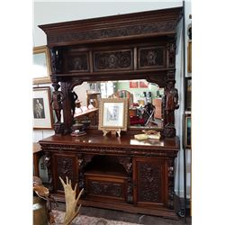 IMPRESSIVE HIGHLY CARVED FIGURAL VICTORIAN SIDEBOARD W/LARGE MIRRORED GALLERY