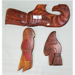 3 NATIVE CARVED WALL PLAQUES