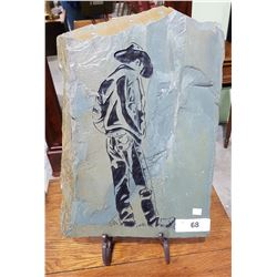 COWBOY ETCHED STONE ON STAND