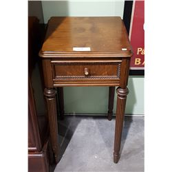 ANTIQUE WALNUT NIGHT STAND W/MOTHER OF PEARL ACCENT