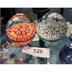 TWO VINTAGE MURANO GLASS PAPERWEIGHTS