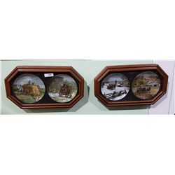 TWO FRAMED SETS OF COLLECTOR PLATES HORSE THEME