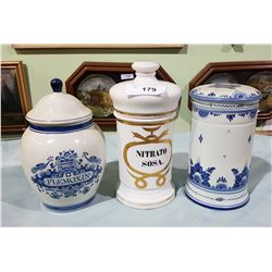 LOT OF 3 APOTHECARY CLAY JARS