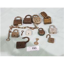 COLLECTION OF ANTIQUE PADLOCKS & KEYS