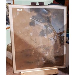 LARGE FRAMED ASIAN WATERCOLOUR