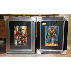 PAIR OF FRAMED ABSTRACT PRINTS