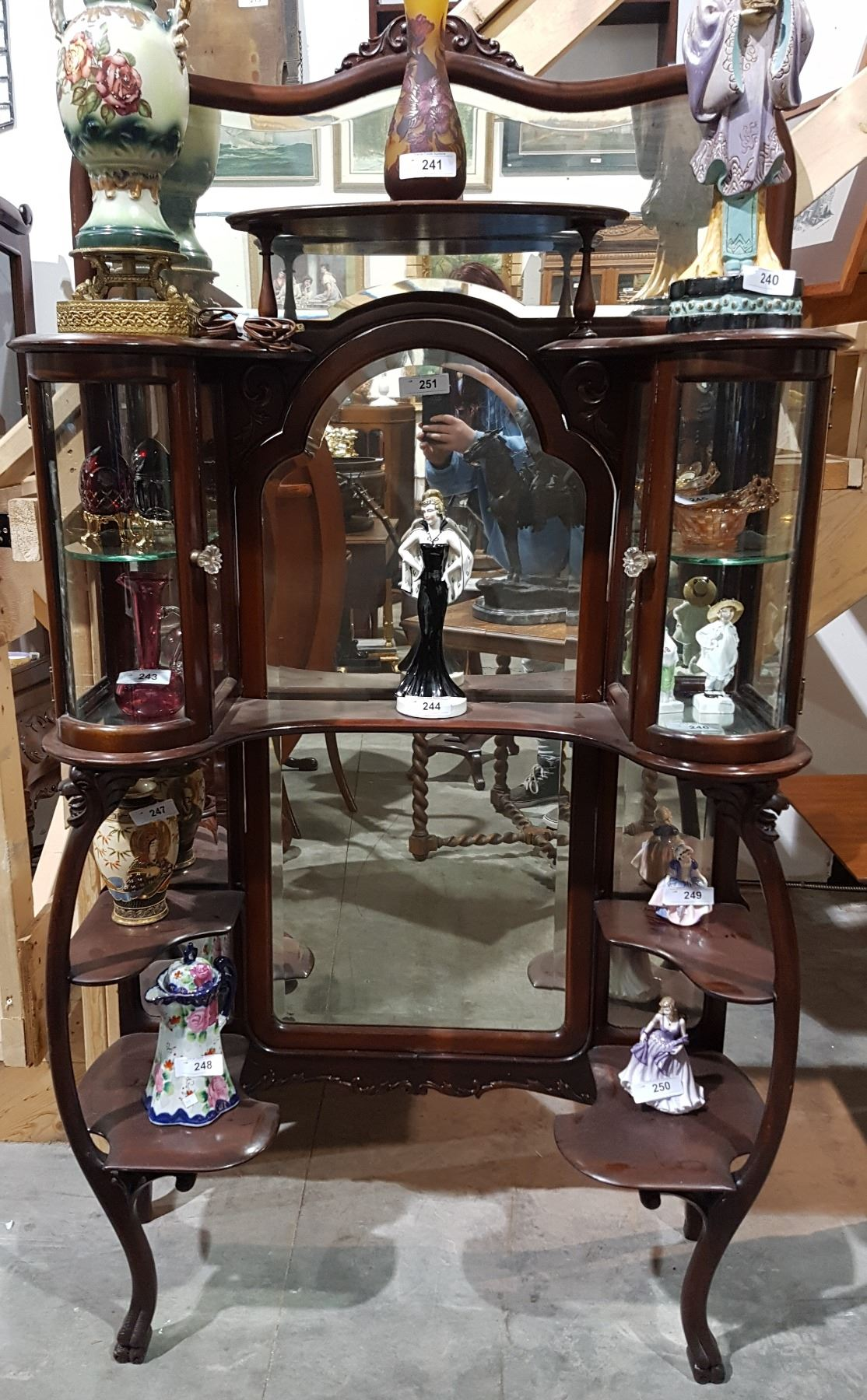 Image 1 : VICTORIAN MAHOGANY CURIO CABINET W/RARE CURVED GLASS DOORS