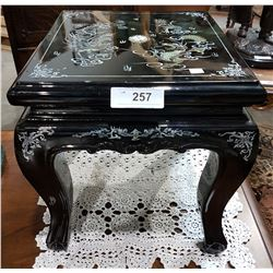ASIAN BLACK LAQUER STOOL W/MOTHER OF PEARL INLAY
