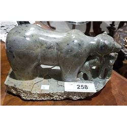 CARVED SOAPSTONE BEAR W/CUBS