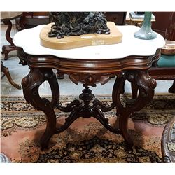 HIGHLY CARVED MAHOGANY TABLE W/MARBLE TOP
