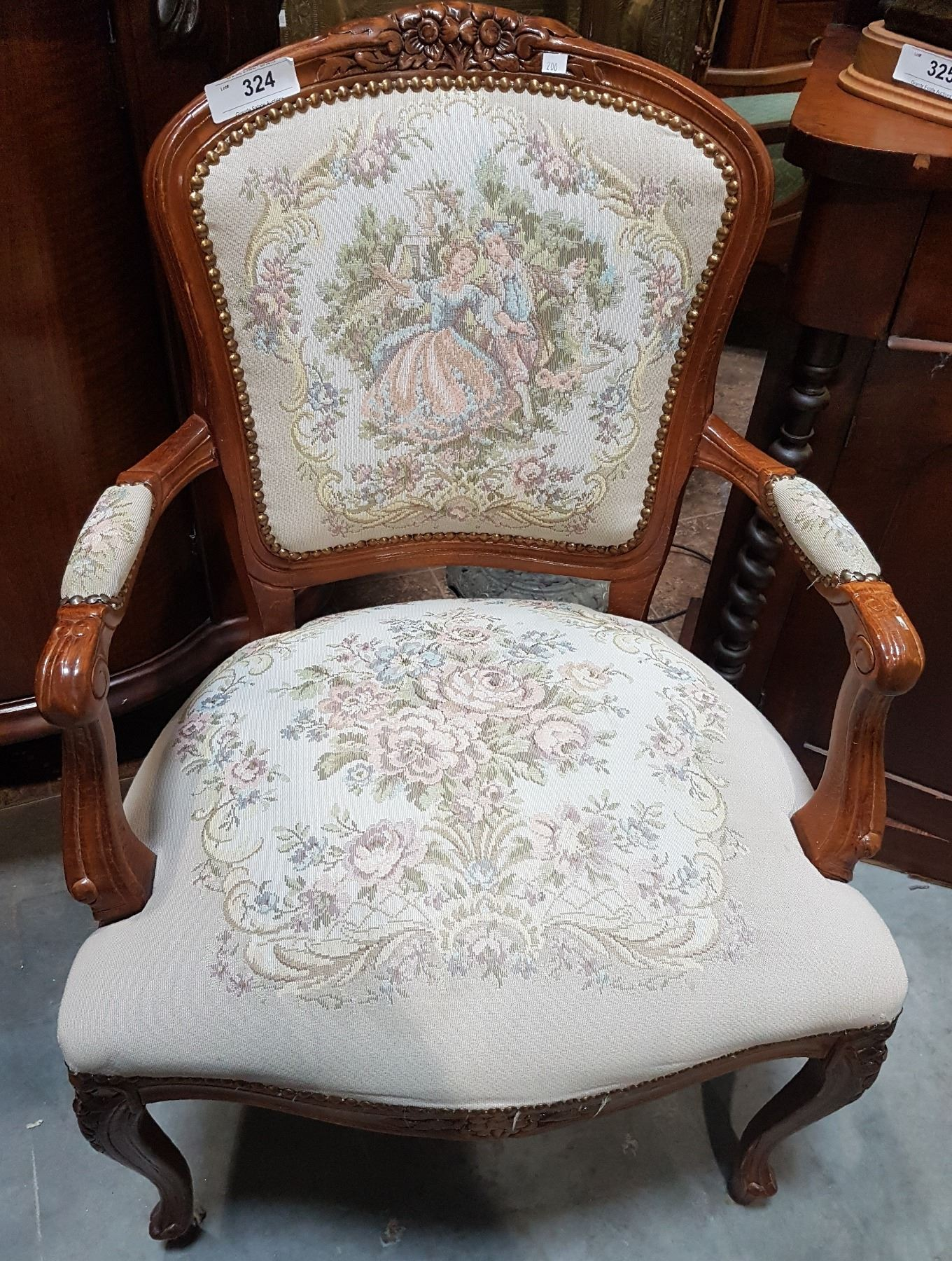 Image 1 : QUEEN ANNE STYLE NEEDLEPOINT CHAIR