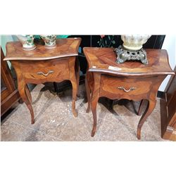 PAIR OF INLAID WALNUT END TABLES