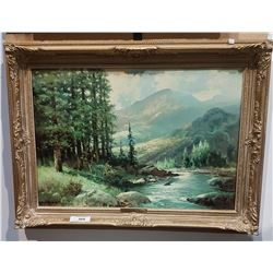 "ORNATELY FRAMED PRINT ON BOARD TITLED ""MOUNTAIN STREAM"" BY ROBERT WOOD"