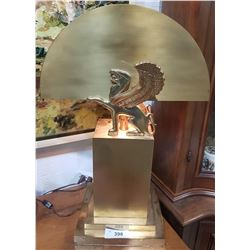 ART DECO PAIR GRIFFEN FIGURAL BRASS TABLE LAMPS