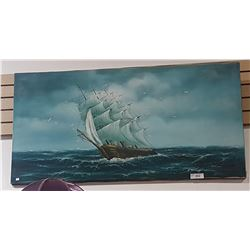 OIL ON CANVAS SIGNED OF A SHIP