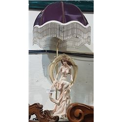 FIGURAL TABLE LAMP W/PURPLE SHADE