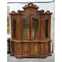 CARVED MAHOGANY CHINA CABINET