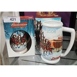 TWO BUDWEISER CLYDESDALE BEER STEINS