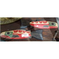 2 NATIVE CARVED SALMON PLAQUES