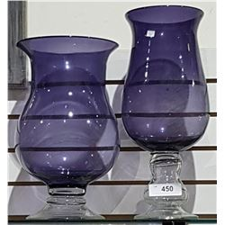 TWO LARGE AMETHYST GLASS VASES
