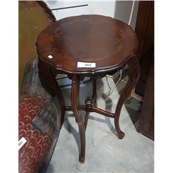 CARVED INLAID MAHOGANY OCCASIONAL TABLE