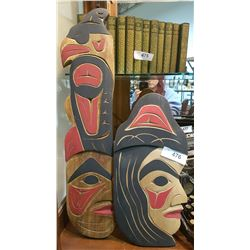 2 CARVED NATIVE PLAQUES SIGNED